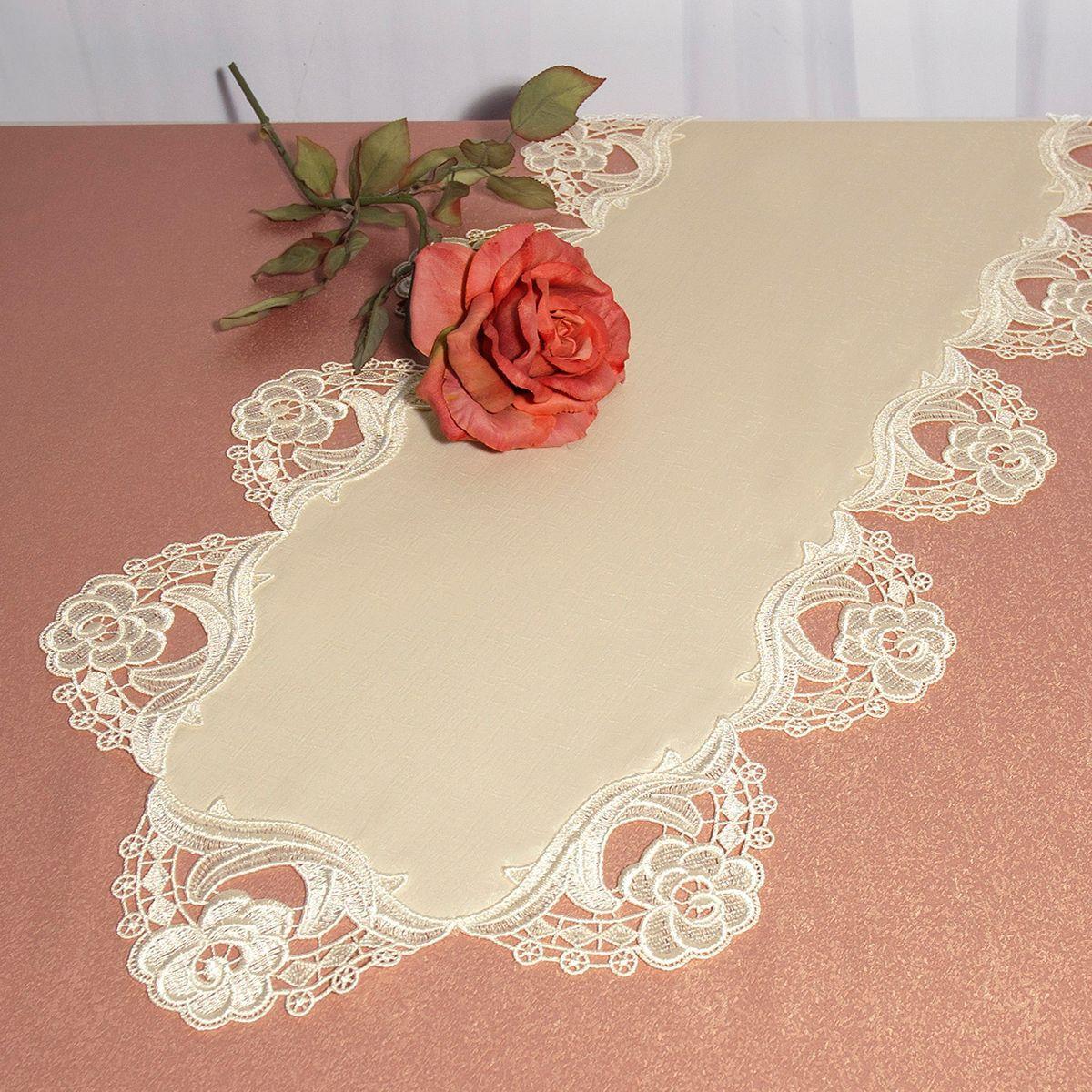 Дорожка для декорирования стола Schaefer, 40 x 90 см, цвет: розовый. 3015