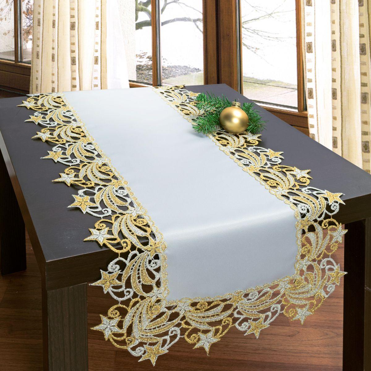 Дорожка для декорирования стола Schaefer, 40 х 100 см, цвет: белый, бежевый. 30763076Дорожка для декорирования стола Schaefer может быть использована, как основной элемент, так и дополнение для создания уюта и романтического настроения.Дорожка выполнена из полиэстера. Изделие легко стирать: оно не мнется, не садится и быстро сохнет, более долговечно, чем изделие из натуральных волокон.Материал: 100% полиэстер.Размер: 40 х 100 см.