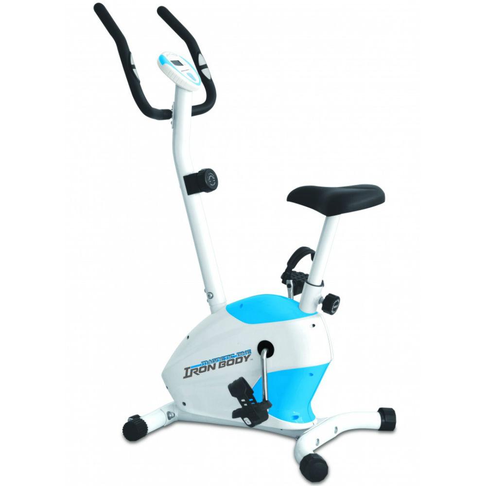 Велотренажер Iron Body 7090BK-1, магнитный, цвет: белый, голубой, черный281205Велотренажер Iron Body 7090BK-1 отлично подойдет любителям активного отдыха, а также людям, испытывающих проблемы со здоровьем и лишним весом.Если вы хотите укрепить здоровье, но не желаете ездить в фитнес-клуб, то домашний велотренажер Iron Body 7090BK-1 прекрасно подходит для этих целей. От лишних калорий не останется и следа!Удобная форма тренажера, стильный дизайн будут радовать вас каждый день!Максимальный вес пользователя: 100 кг.Система нагрузки: магнитная.Габариты: 79 х 54,5 х 124 см.Вес тренажера: 19 кг.Вес маховика: 4 кг.Функции дисплея: время, скорость, дистанция, калории, пульс.Количество уровней нагрузки: 8.