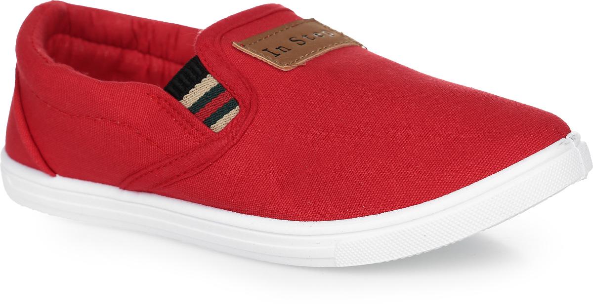 Кеды детские In Step, цвет: красный. A08-9. Размер 33A08-9Кеды In Step, выполненные из текстиля, оформлены прострочкой и нашивкой с названием бренда. Модель дополнена эластичными резинками для удобства надевания. Внутренняя поверхность из текстиля комфортна при движении. Стелька выполнена из легкого ЭВА-материала с поверхностью из текстиля. Подошва изготовлена из полимера и дополнена рельефным рисунком.