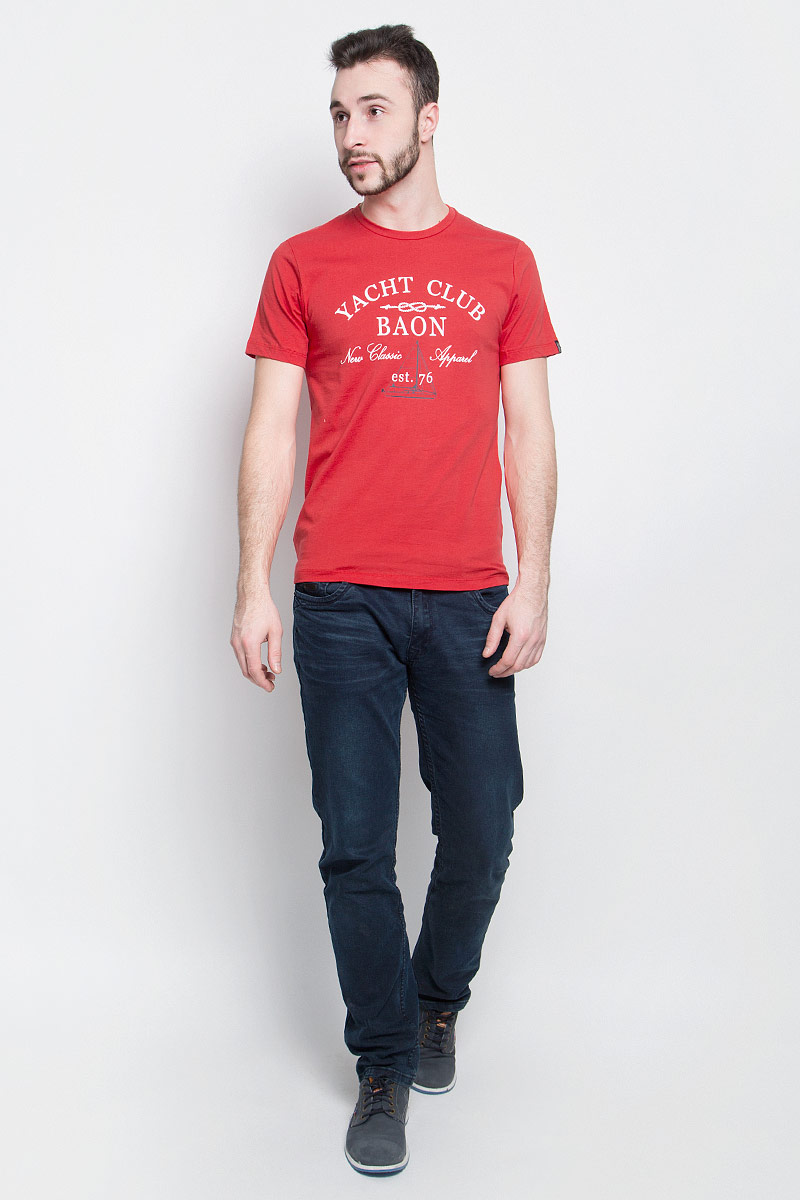 Футболка мужская Baon, цвет: красный. B737001. Размер M (48)B737001_CayenneМужская футболка Baon выполнена из хлопковой ткани и оформлена оригинальным принтом. У модели круглый вырез горловины и стандартные короткие рукава.