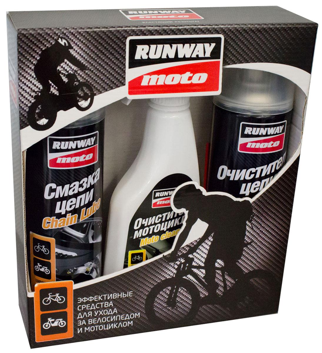 Автомобильный набор Runway, смазка цепи, очиститель цепи, очиститель мотоцикла1059Н, RW8000, RW8001, RW8002Автомобильный набор Runway состоит из трех эффективных средств для ухода за велосипедом и мотоциклом. Высокоэффективная универсальная смазка цепи Runway обладает отличной проникающей, смазывающей и сцепляющей способностью, устойчива к воде, низким и высоким температурам. Снижает растяжение цепи, уменьшает трение и обеспечивает продолжительный срок ее службы, предотвращая коррозию. Смазка применяется для цепей городских мотоциклов, велосипедов, мопедов,мотороллеров, сельскохозяйственной техники, а также подходит для оплеток, тросов, звезд и мелких деталей. Безопасна для O-Ring и Х-Ring уплотнений. Высокоэффективный активный очиститель цепи Runway создан на основе особой комбинации растворителей и обеспечивает быструю и эффективную очистку и обезжиривание приводных цепей любых транспортных средств. Превосходно смывает грязь, старую смазку, мазут, песок, масло и пыль. Очиститель цепи Runway специально разработан для очистки цепей мотоциклов, мопедов, велосипедов, мотороллеров, картингов. Протестирован с цепями с O-Ring и Х-Rings уплотнениями. Совместим с устройствами для мойки цепи. При регулярном использовании значительно продлевает срок службы цепи. Не требует смывания. Очиститель мотоцикла Runway быстро и эффективно удаляет грязь, гудрон, масляные и жировые отложения, насекомых и прочие загрязнения. Обладает отличным проникающим и обезжиривающим действием. Очищает все металлические и пластиковые поверхности, не повреждая их. Безопасен для резиновых, пластиковых и металлических покрытий. После применения оставляет интенсивный блеск. Не оставляет следов. Применяется для очистки мотоциклов, велосипедов, мопедов, мотороллеров, скутеров и других транспортных средств.