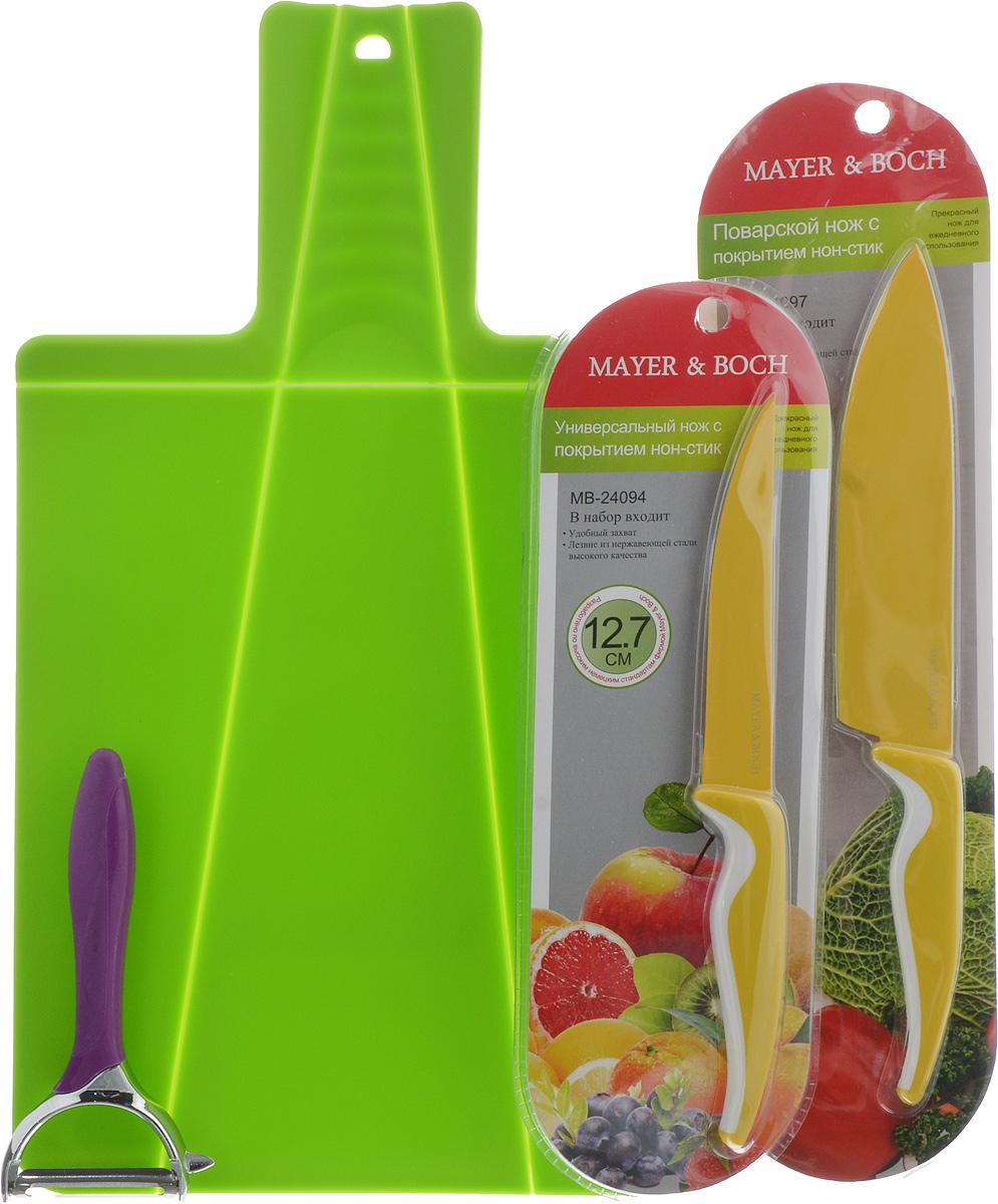Набор для кухни Mayer & Boch, цвет: желтый, салатовый, фиолетовый, 4 предмета24094_желтый, салатовый, фиолетовыйНабор для кухни Mayer & Boch включает разделочную доску, поварской нож, универсальный нож и картофелечистку. Складная разделочная доска выполнена из пищевого полипропилена. Трансформация достигается за счет подвижных сгибов материала. Умный дизайн рукоятки позволяет с легкостью складывать, а также разворачивать доску. При сжатии ручки края доски складываются, образуя форму лотка. Это позволяет с легкостью и быстротой переносить нарезанные продукты. Эта доска не помнется, не сломается, не пойдет трещинами, что выгодно отличает ее от деревянных. В набор также входит поварской нож и универсальный нож. Лезвия ножей выполнены из нержавеющей стали с покрытием non-stick, которое предотвращает прилипание продуктов. Рукоятка выполнена из полипропилена и снабжена прорезиненными вставками. Специальный дизайн рукоятки обеспечивает комфортный и легко контролируемый захват. Ножи идеальны для ежедневной резки фруктов, овощей, мяса и других продуктов. Картофелечистка предназначена для быстрой очистки картофеля и других овощей. Лезвие выполнено из качественного металла, рукоятка изготовлена из мягкого ABS пластика, а корпус - из цинкового сплава и титана. Прибор снабжен устройством для очистки глазков с картофеля. Его удобно держать в руке и использовать без лишних усилий. Набор для кухни Mayer & Boch содержит все необходимые предметы, которые помогут вам в приготовлении пищи. Размер разделочной доски: 37 х 21 см. Длина лезвия поварского ножа: 15,2 см. Длина поварского ножа: 27 см. Длина лезвия универсального ножа: 12,7 см. Длина универсального ножа: 23,5 см. Длина картофелечистки: 15 см. Длина лезвия картофелечистки: 5 см.