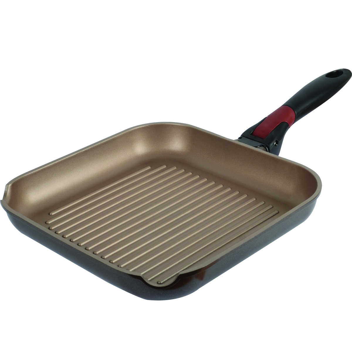 Сковорода-гриль Polaris One Click, с антипригарным покрытием, со съемной ручкой, 26 х 26 смOC-26GСковорода Polaris One Click изготовлена из высококачественного литого алюминия. Высокопрочное износостойкое антипригарное покрытие Whitford Xylan обеспечивает непревзойденную стойкость к царапинам, поэтому при готовке можно использовать металлические кухонные аксессуары. Покрытие экологично, не содержит примеси PFOA и PTFE. Специальное утолщенное дно обеспечивает равномерный нагрев. Эргономичная бакелитовая ручка не нагревается и не скользит. Ручка съемная, что позволяет использовать сковороду в духовке. Рифленая поверхность сковороды имитирует решетку гриля и образует аппетитную корочку, при этом жир стекает в желобки, не давая продуктам контактировать с ним, что обеспечивает приготовление здоровой пищи. С обеих сторон сковороды имеются отверстия для слива жидкости. Можно мыть в посудомоечной машине. Подходит для газовых, электрических и стеклокерамических плит, включая индукционные. Также подходит для духовки без использования съемной ручки.Внутренний размер сковороды: 26 х 26 см. Высота стенки: 4 см. Длина ручки: 20,5 см.