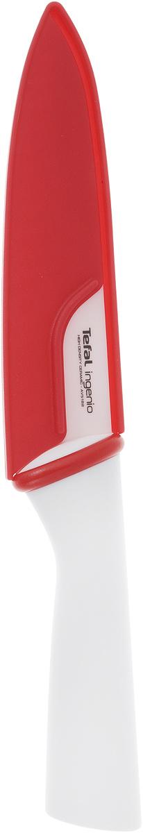 Нож поварской Tefal Ingenio White, керамический, с чехлом, длина лезвия 16 см нож для чистки овощей tefal talent 7 см k0911204