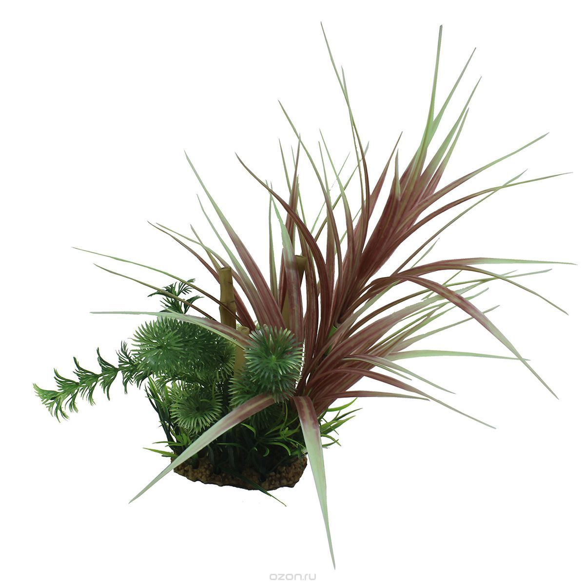 Композиция из растений для аквариума ArtUniq Офиопогон красный с бамбуком, высота 20 см декорация для аквариума dezzie руины лестница 16 5 х 7 8 х 8 5 см