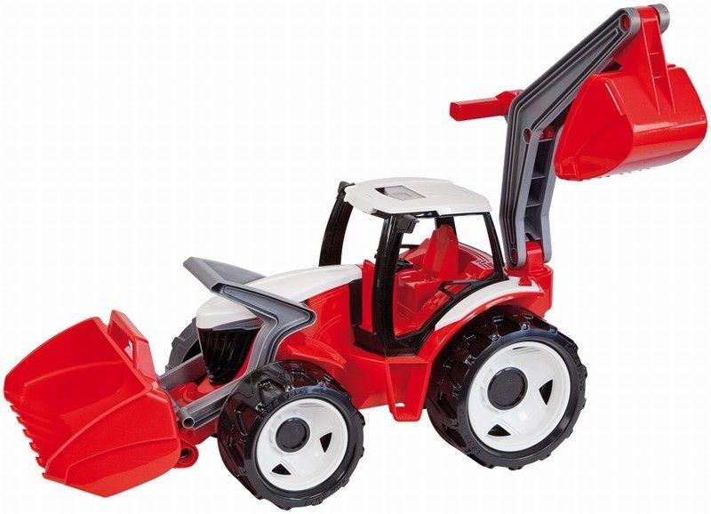купить Lena Трактор с грейдером и ковшом цвет красный белый по цене 2259 рублей