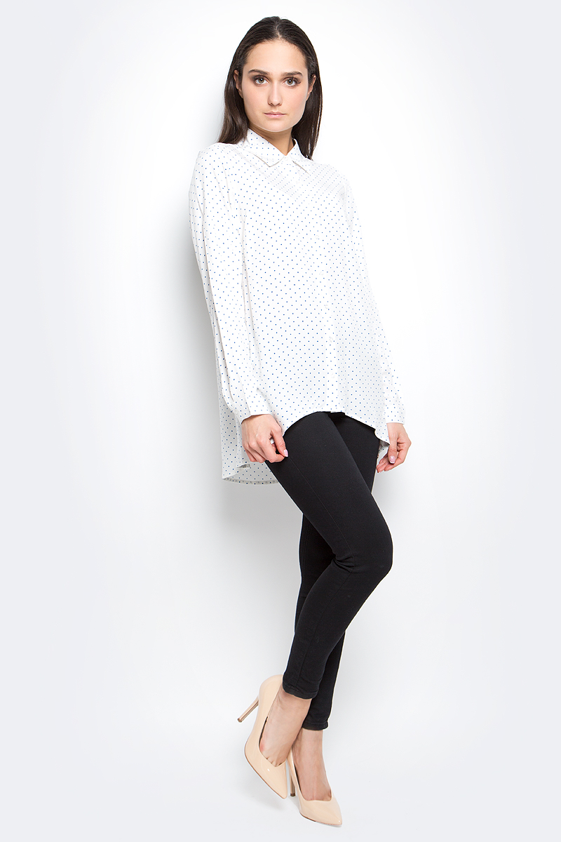 Рубашка женская Baon, цвет: белый. B177040. Размер S (44)B177040_Milk PrintedРубашка женская Baon выполнена 100% вискозы. Модель с отложным воротником и длинными рукавами застегивается на пуговицы. Оформлено изделие принтом в горох.