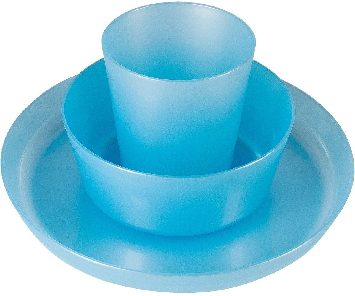 Little Angel Набор детской посуды цвет голубой 3 предмета