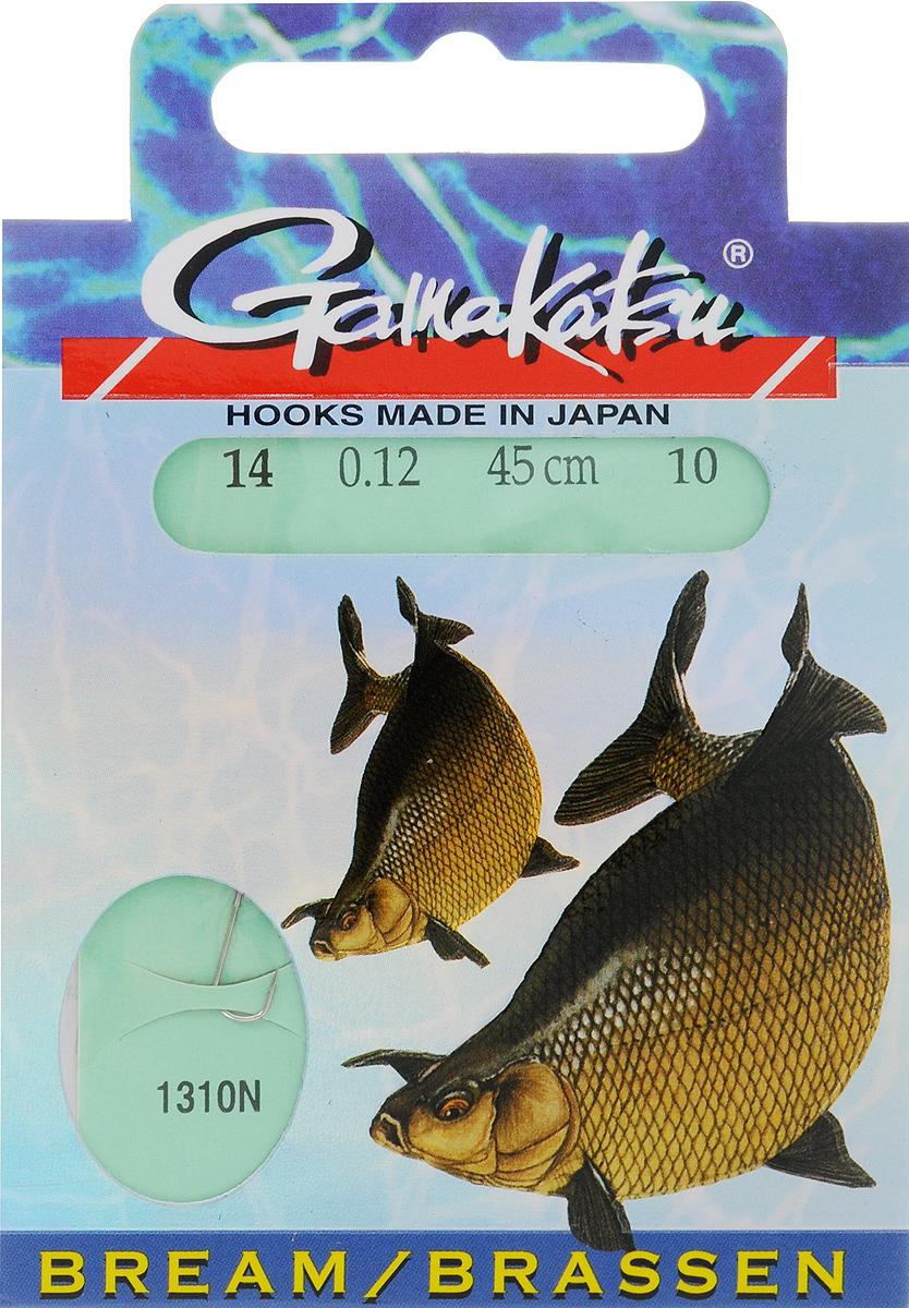 Крючок с поводком Gamakatsu BKS-1310N, длина поводка 45 см, толщина поводка 0,12 мм, размер крючка 14, 10 шт крючок gamakatsu bks 3510f carp 60см 2 d поводка 030 10шт