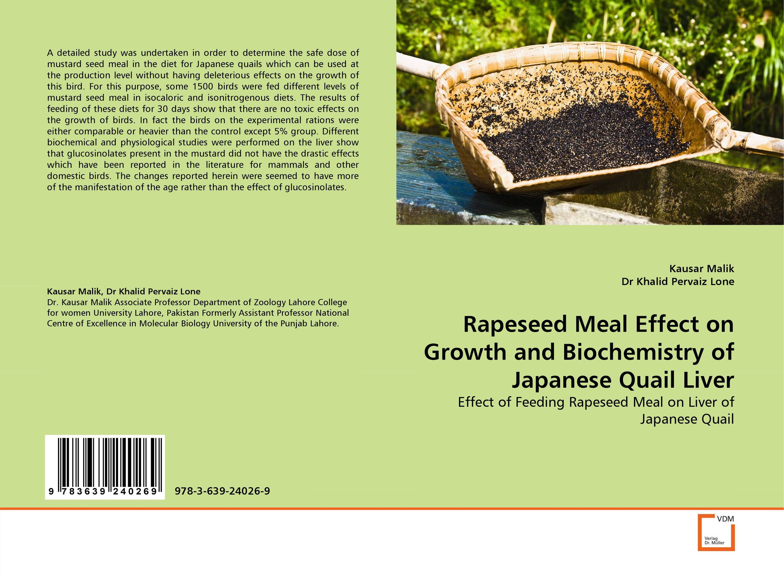 Rapeseed Meal Effect on Growth and Biochemistry of Japanese Quail Liver saeid navid effect of papaya leaf meal and vitamin d3 on meat quality