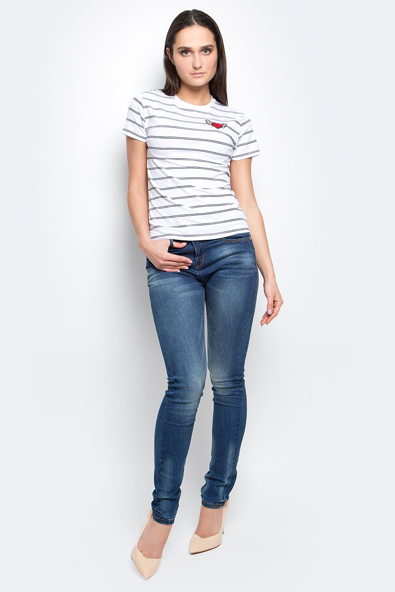 Футболка женская oodji Ultra, цвет: белый, черный. 14701057/26398/1079S. Размер XXS (40) футболка oodji футболка