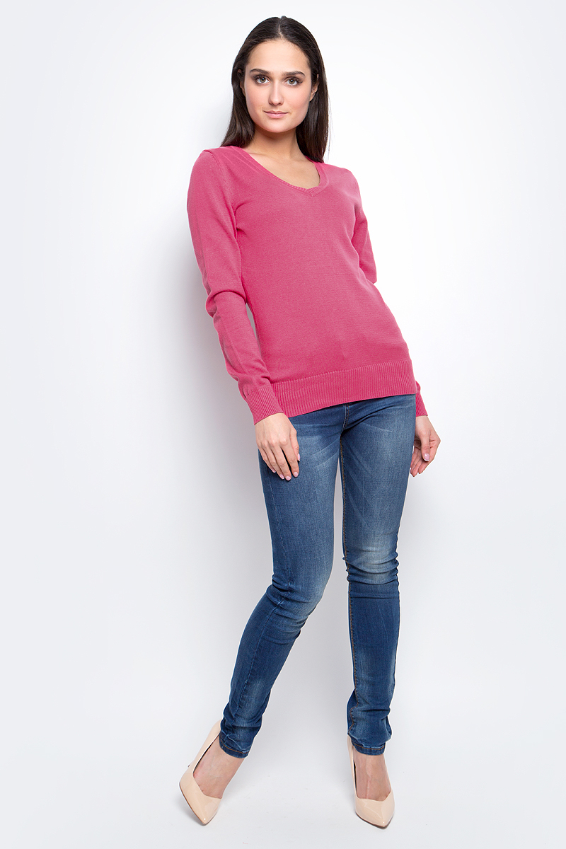 Пуловер женский Baon, цвет: розовый. B137201. Размер M (46)B137201_ValentineЭлегантный женский пуловер Baon выполнен из натурального хлопка. Модель с V-образным вырезом горловины и длинными рукавами. Низ и манжеты изделия выполнены мелкой резинкой.