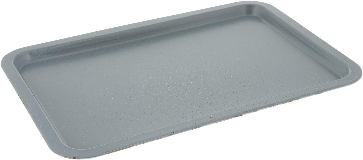 """Противень """"Fissman"""" изготовлен из углеродистой стали с антипригарным покрытием. Внутреннее  покрытие исключает прилипание пищи к поверхности посуды даже с минимальным количеством  масла.  Противень предназначен для использования в духовке при температуре до +240°С. Нельзя мыть в посудомоечной машине и использовать в микроволновой печи и на открытом огне.   Размер противня: 38 x 26,5 x 1,5 см."""