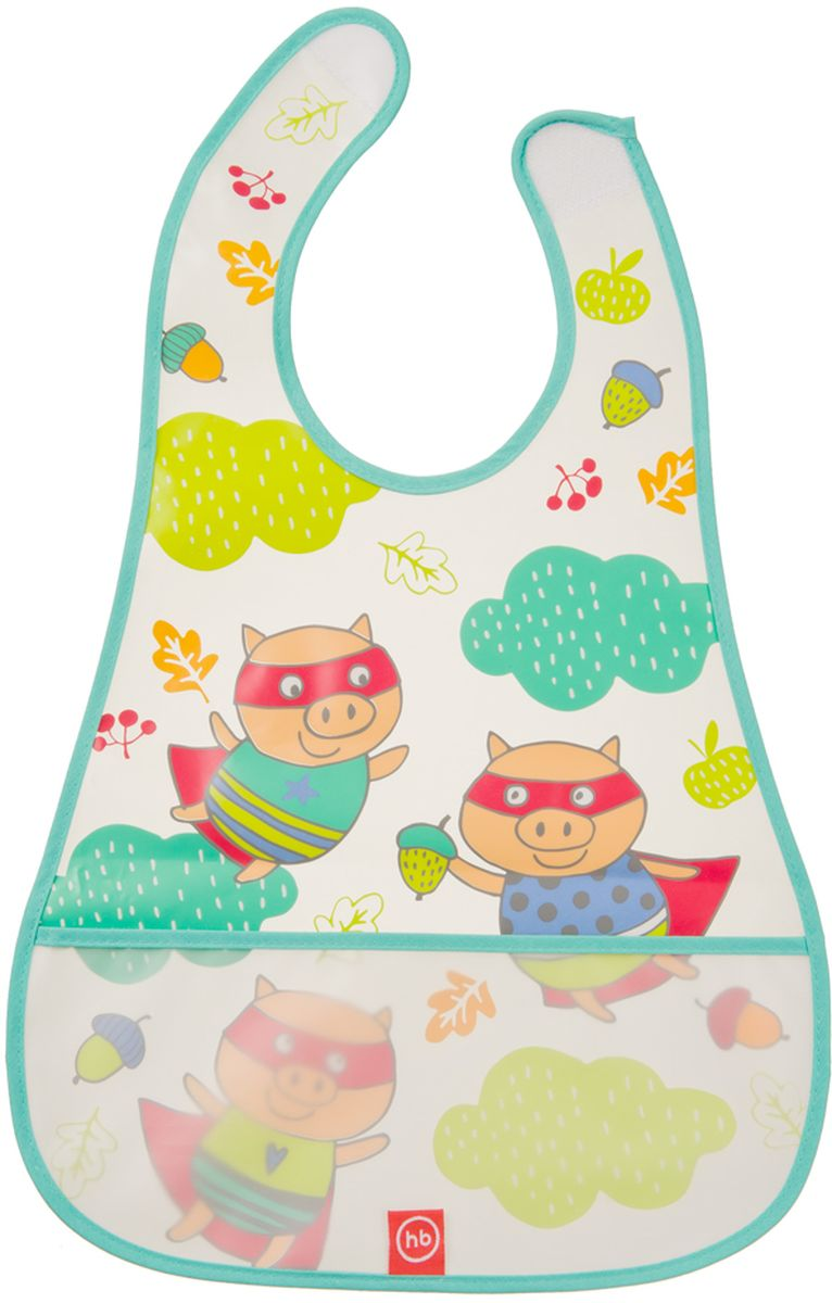 Happy Baby Нагрудник на липучке Waterproof Baby Bib Pigs
