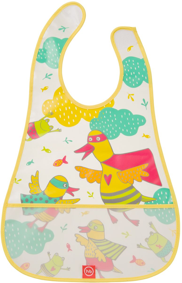 Happy Baby Нагрудник на липучке Waterproof Baby Bib Ducks
