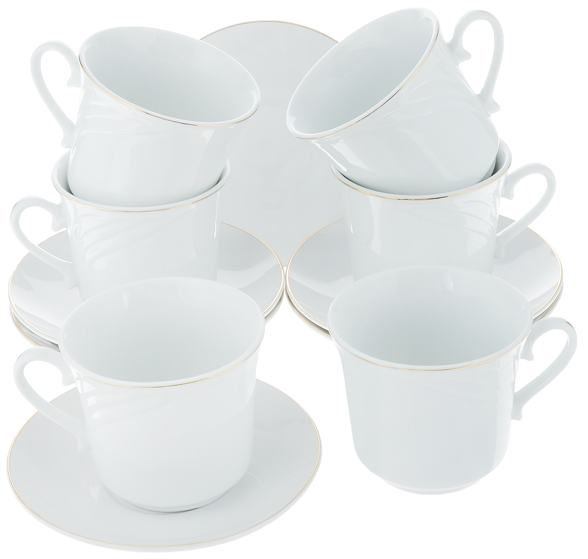 Набор чайный Loraine, 12 предметов. 2561525615Чайный набор Loraine состоит из 6 чашек и 6 блюдец, выполненных из высококачественного фарфора. Такой набор дополнит сервировку стола к чаепитию.Благодаря изысканному дизайну и качеству исполнения он станетзамечательным подарком для ваших друзей и близких. Набор упакован в подарочную коробку, задрапированную белойатласной тканью. Объем чашки: 220 мл. Диаметр чашки по верхнему краю: 8,5 см. Высота чашки: 7,5 см. Диаметр блюдца: 13,5 см.Высота блюдца: 2 см.