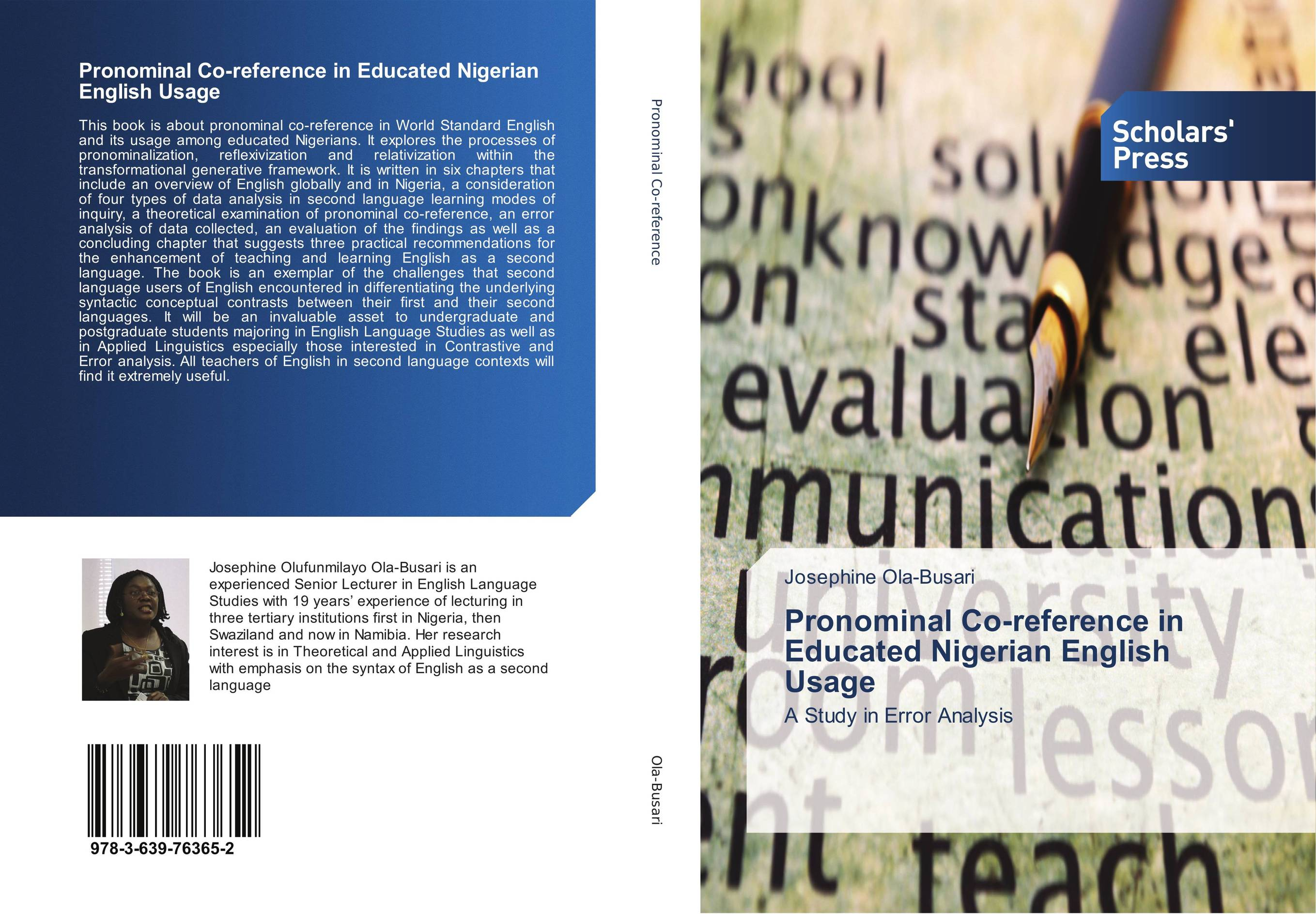Pronominal Co-reference in Educated Nigerian English Usage error analysis in spoken english phonological
