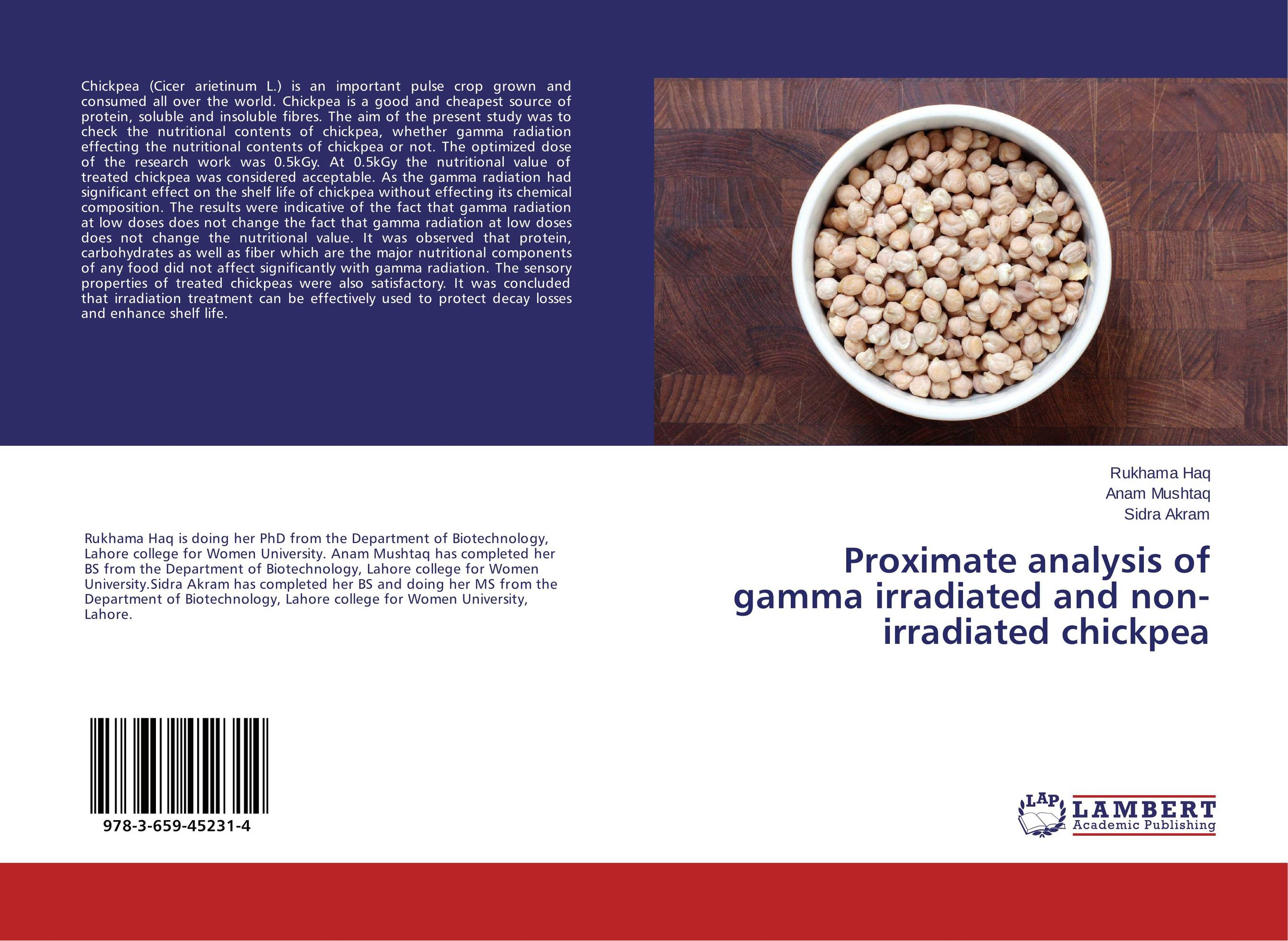 Proximate analysis of gamma irradiated and non-irradiated chickpea effect of gamma irradiation on the proximate of canned tomato paste