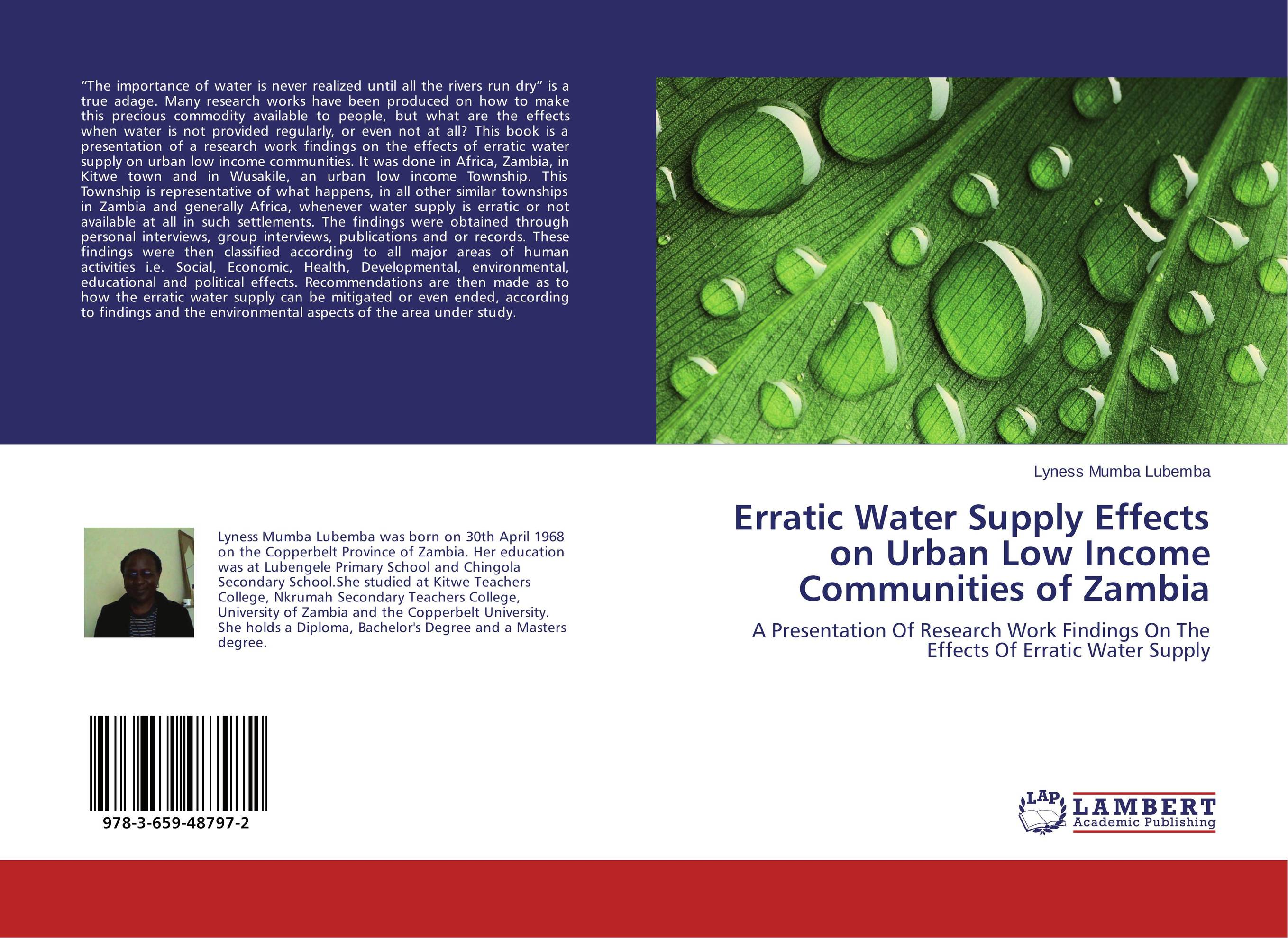 Erratic Water Supply Effects on Urban Low Income Communities of Zambia