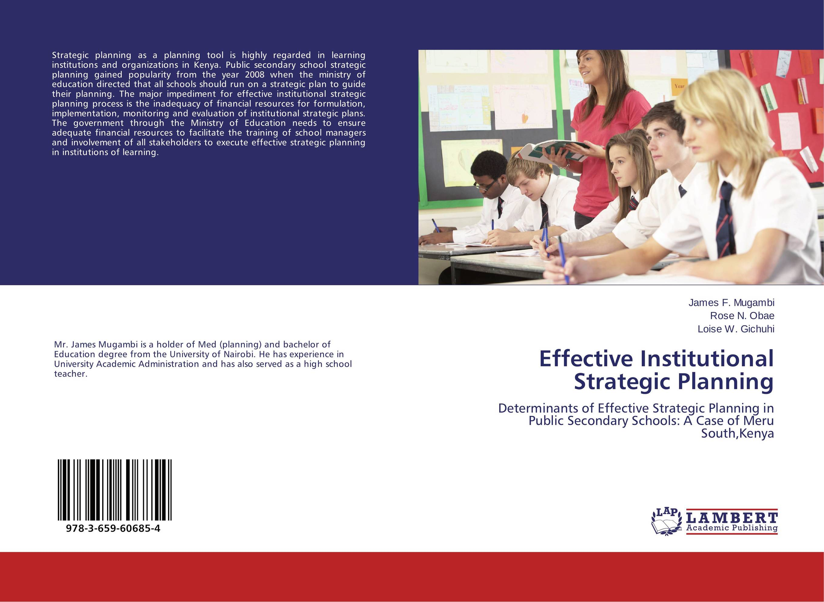 Effective Institutional Strategic Planning the evaluation of school organizations