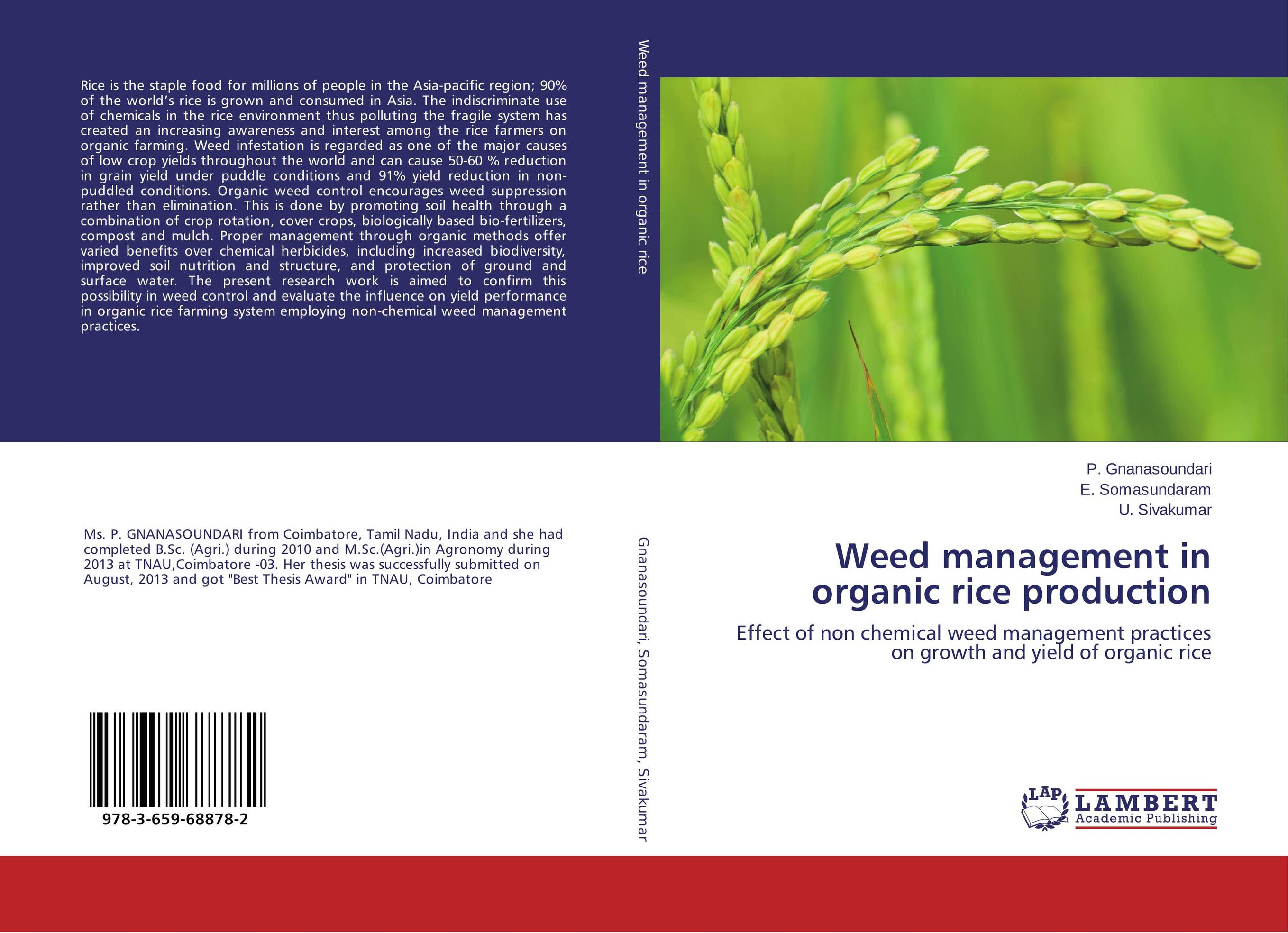 Weed management in organic rice production weed management in rice wheat system