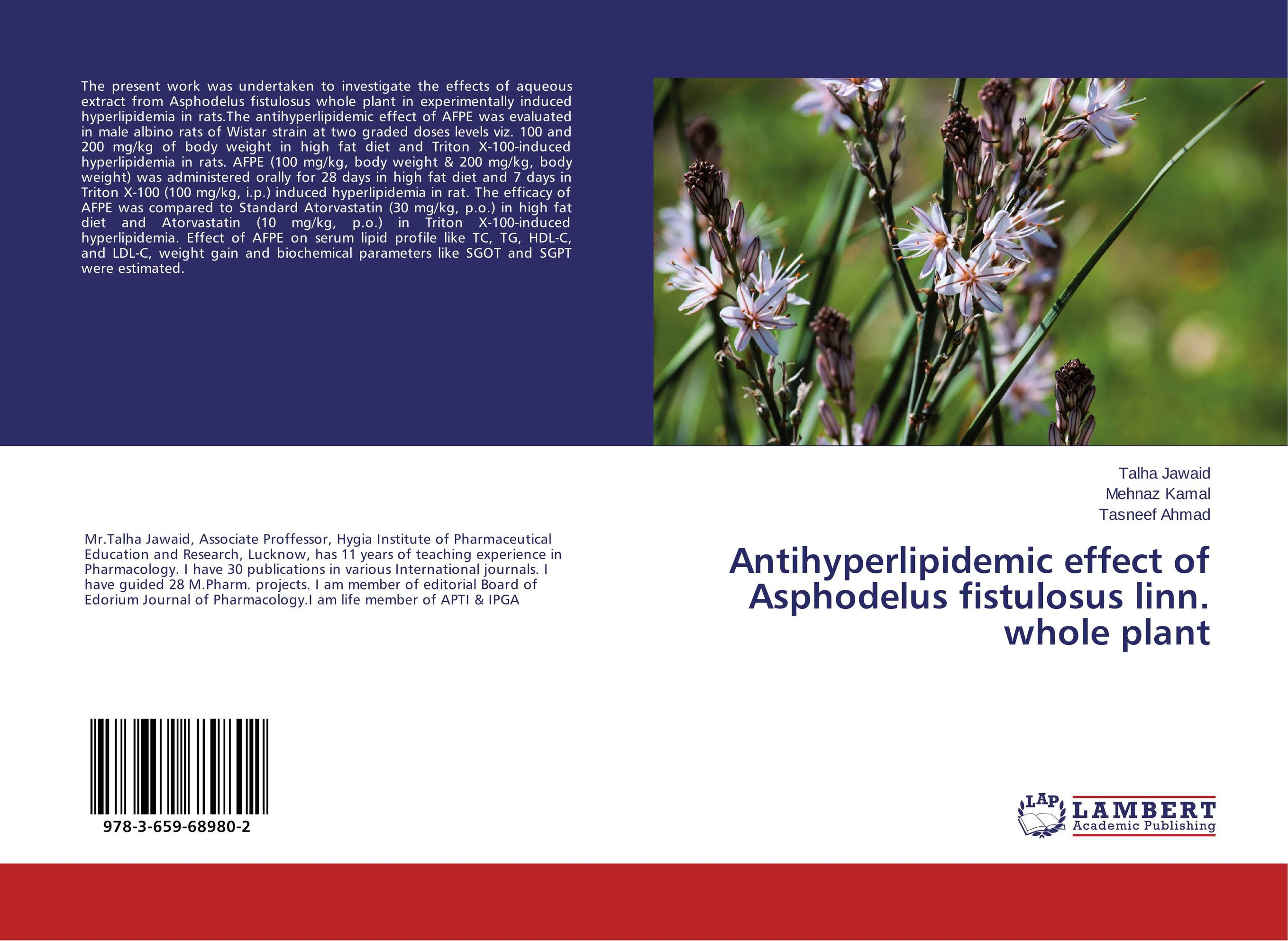 Antihyperlipidemic effect of Asphodelus fistulosus linn. whole plant personality profile and induced psychosis in alcohol dependence