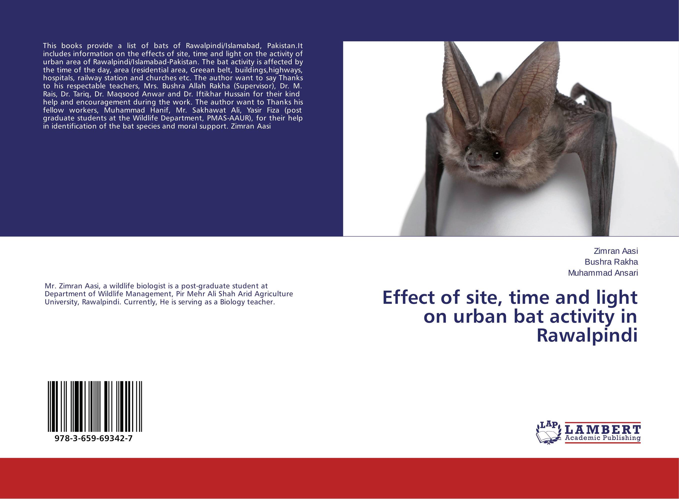 Effect of site, time and light on urban bat activity in Rawalpindi