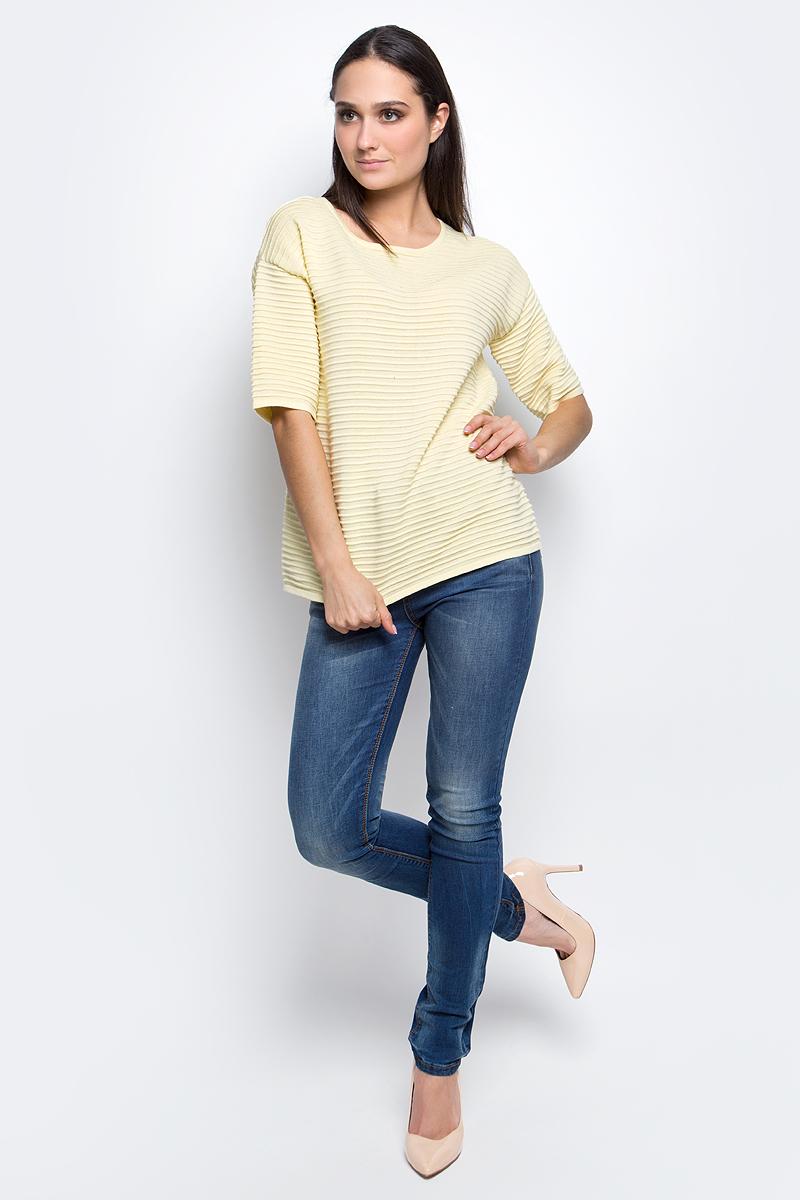 Джемпер женский Baon, цвет: желтый. B137002. Размер L (48)B137002_TwincleЖенский джемпер Baon с круглым вырезом горловины и рукавами до локтя изготовлен из хлопка с добавлением акрила.Джемпер имеет оригинальную ребристую вязку.