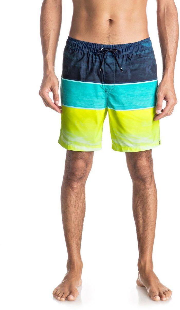 Шорты мужские Quiksilver, цвет: синий, голубой, желтый. EQYJV03203-BNF6. Размер XL (52/54)EQYJV03203-BNF6Шорты мужские Quiksilver изготовлены из качественной ткани. Модель длиной до колен затягивается на талии на шнурок-утяжку. Изделие выполнено в ярких цветах.