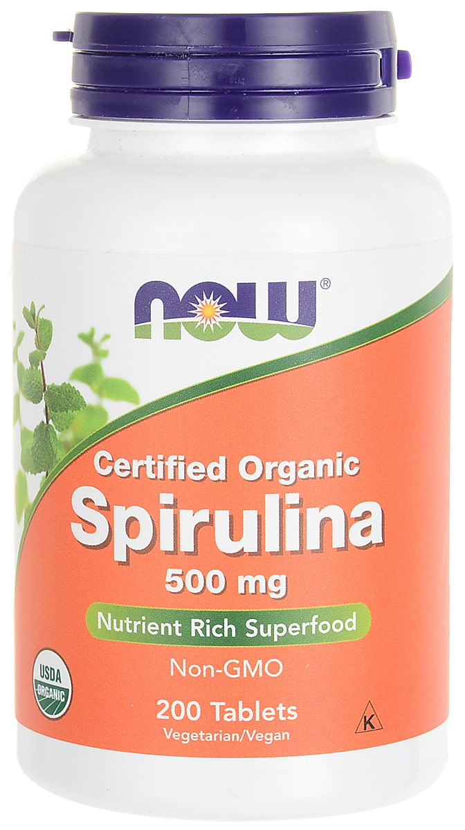 Пробиотик Now Foods Nutrition  Spirulina , 500 мг, 200 таблеток