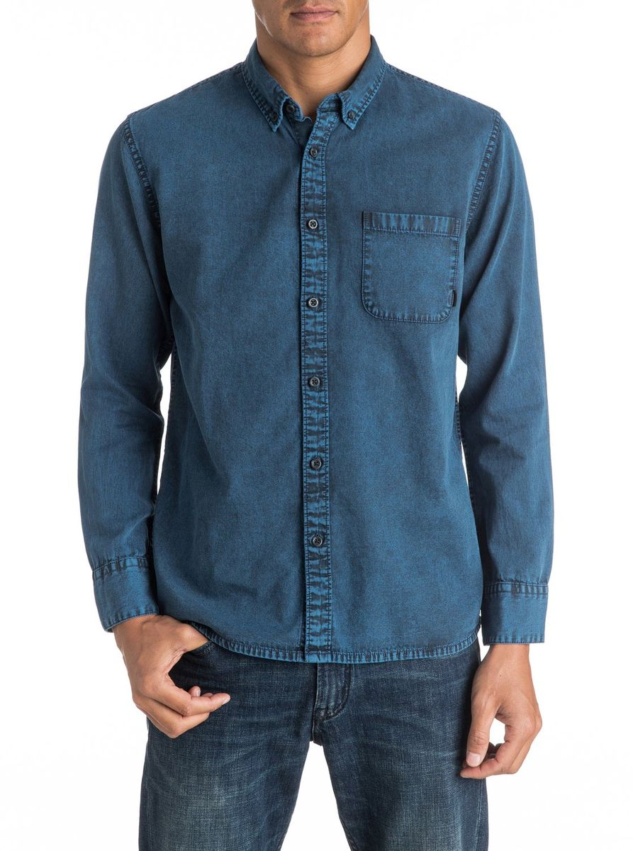 Рубашка мужская Quiksilver, цвет: синий. EQYWT03438-BYH0. Размер M (48/50) свитшот quiksilver quiksilver qu192ebpew61