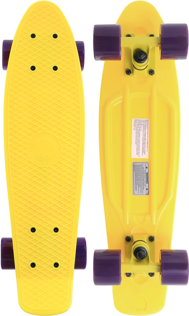 Скейтборд пластиковый Fish, цвет: желтый, сиреневый, дека 56 х 15 смTLS-401_Y_Y_PПенни борд Fish подходит для начинающих райдеров. На нем можно кататься в парках, на улице, на площадках, с горок, вы можете добираться на нем до места работы или учебы. Несмотря на небольшие размеры, пенни развивает большую скорость и отлично лавирует. Доска имеет небольшую длину и маленький вес, поэтому ее можно убрать в рюкзак или сумку или нести в руках.Дека выполнена из высококачественного прочного пластика. Специальный выпуклый рисунок в виде сетки предотвращает скольжение ноги по ее поверхности. Подвеска выполнена из прочного алюминия. Полиуретановые колеса обеспечивают хорошее сцепление с поверхностью, быстрый разгон и торможение. Максимальная нагрузка: 100 кг.Диаметр колеса: 6 см.Ширина колеса: 4,5 см.
