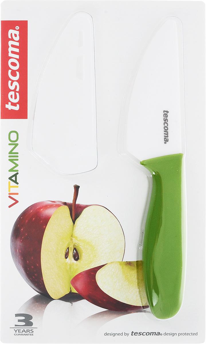 Нож для овощей и фруктов Tescoma Vitamino, керамический, с чехлом, цвет: зеленый, длина лезвия 9 см642720Нож Tescoma Vitamino идеально подходит для нарезки овощей, фруктов и других продуктов. Лезвие ножа изготовлено из высококачественной керамики.Керамическое лезвие при надлежащем обращении длительное время сохраняет свою остроту и редко нуждается в заточке. Эргономичная ручка, выполненная из пластика, не скользит в руках и делает резку удобной и безопасной.Процесс резки происходит плавно и легко. Нож не оставляет после себя запаха и послевкусия, что позволяет полностью сохранить свежесть продуктов. Такой нож станет незаменимым помощником на вашей кухне и займет достойное место среди кухонныхаксессуаров. Общая длина ножа: 20 см. Длина лезвия: 9 см. Можно мыть в посудомоечной машине.
