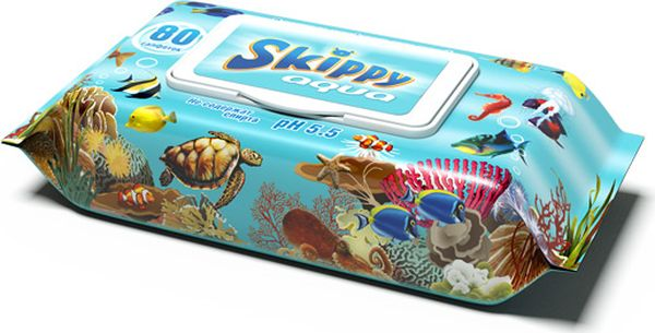 Skippy Влажные салфетки детские Aqua 80 шт67105161Влажные салфетки, размером 15 х 20 см, произведены из высококачественного материала повышенной плотности 40 г/м2, с повышенным содержанием вискозы. Не содержат спирта и обладают приятным легким нейтральным ароматом.