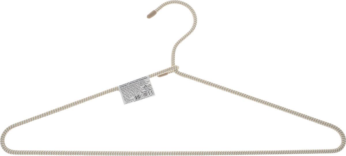 Вешалка для одежды HomeQueen, металлическая, с текстильным покрытием, цвет: бежевый, длина 40,5 см70698Вешалка для одежды HomeQueen изготовлена из металлас текстильным покрытием, снабжена закругленнымиплечиками.Вешалка - незаменимая вещь для аккуратного храненияодежды. Размер вешалки: 40,5 х 0,7 х 20 см.