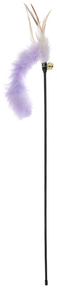 Игрушка для кошек V.I.Pet Дразнилка, с колокольчиком, цвет: черный, сиреневый, бежевый, длина 61 см. 30-0952 игрушка для кошек 1 лабиринт с дразнилкой
