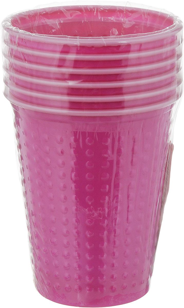 Набор одноразовых стаканов Buffet Biсolor, цвет: фуксия, розовый, 200 мл, 6 шт набор креманок buffet цвет прозрачный черный 200 мл 6 шт