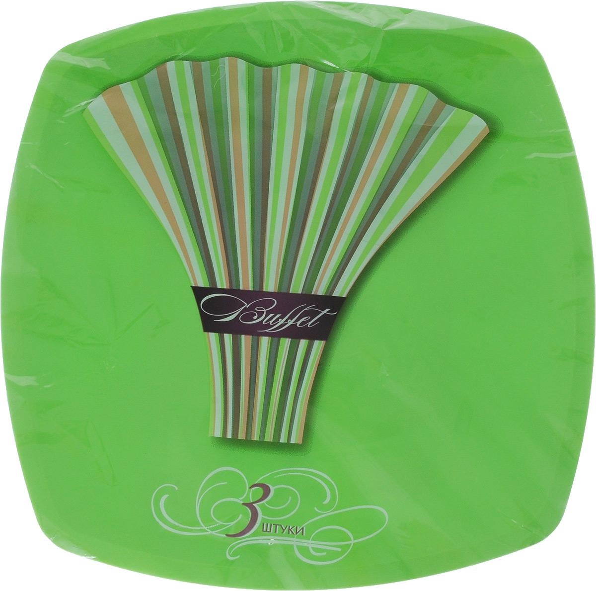 Набор одноразовых тарелок Buffet, цвет: зеленый, 30 х 30 см, 3 шт183207/_зеленыйНабор Buffet состоит из трех тарелок. Изделия, изготовленные из высококачественной полипропилена, сочетают в себе изысканный дизайн с максимальной функциональностью. Тарелки предназначены для холодных и горячих (до +70°С) продуктов. Такие тарелки незаменимы в поездках на природу и на пикниках.Размер тарелки: 30 х 30 см.Высота стенки: 1 см.