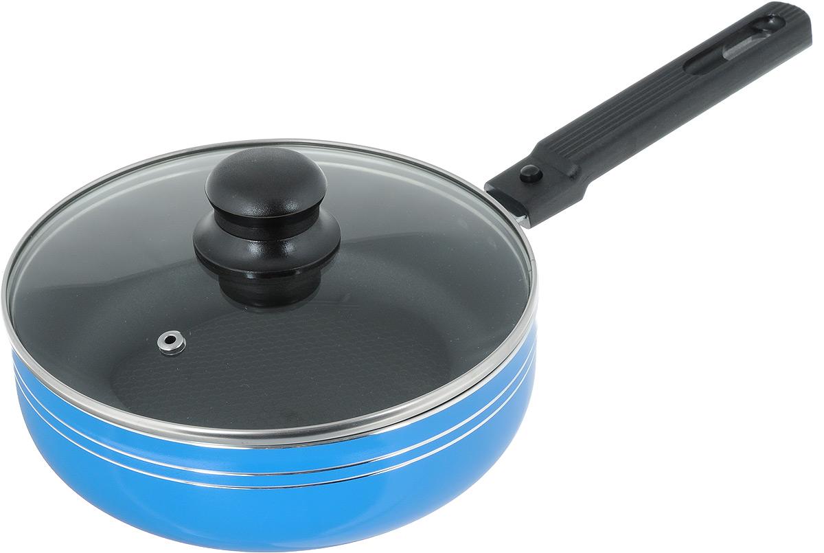 Сковорода-сотейник Добрыня с крышкой, со съемной ручкой, с антипригарным покрытием. Диаметр 20 см