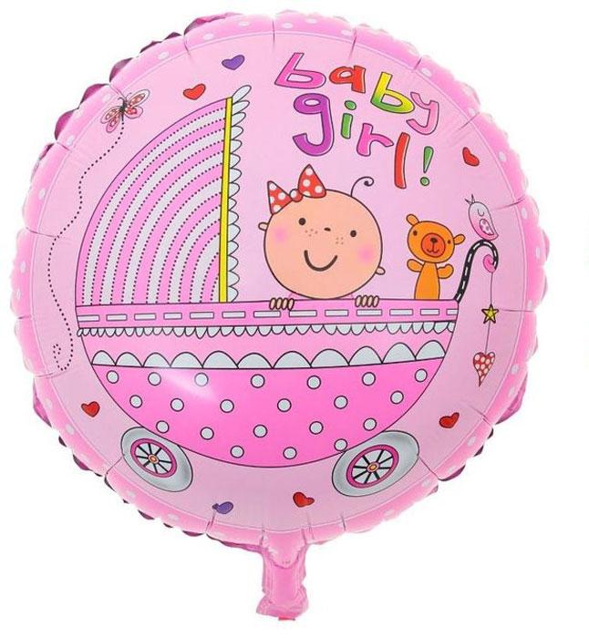 Sima-land Воздушный шарик Малыши в коляске Круг 18 цвет розовый