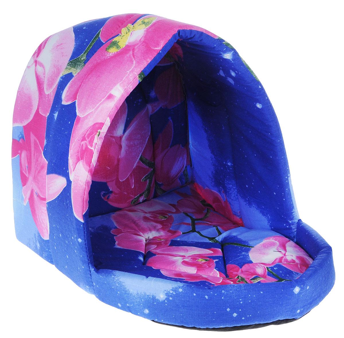 Лежак для животных Elite Valley Люлька, цвет: синий, розовый, 50 х 38 х 38 см. Л-11/4 лежак для животных elite valley пуфик цвет синий розовый зеленый 90 х 70 х 18 см л 4 5