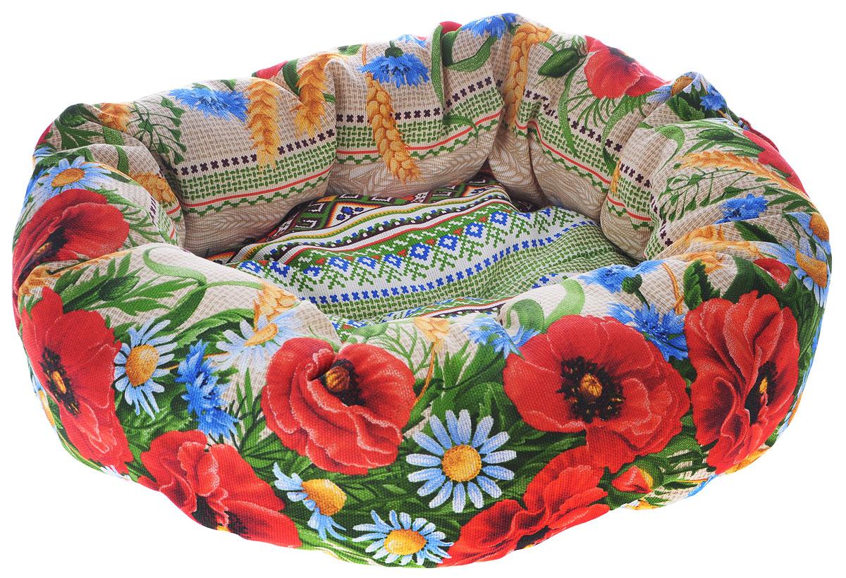 Лежак для животных Родные места Ватрушка. Маки, 50 x 50 x 15 см