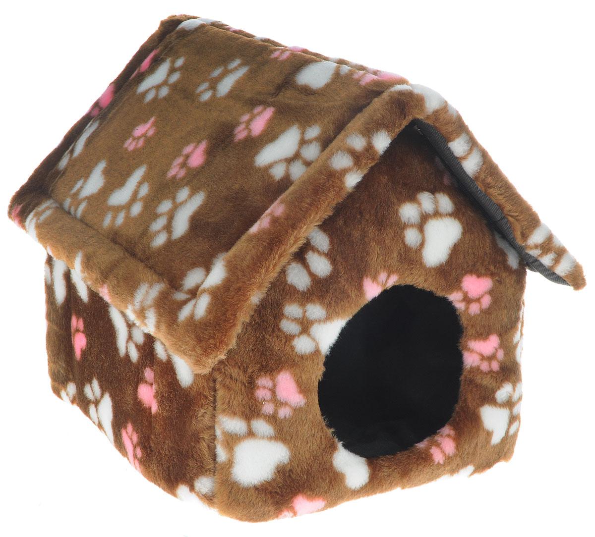 """Домик для животных """"Elite Valley"""", цвет: светло-коричневый, белый, розовый, 34 х 22 х 35 см"""