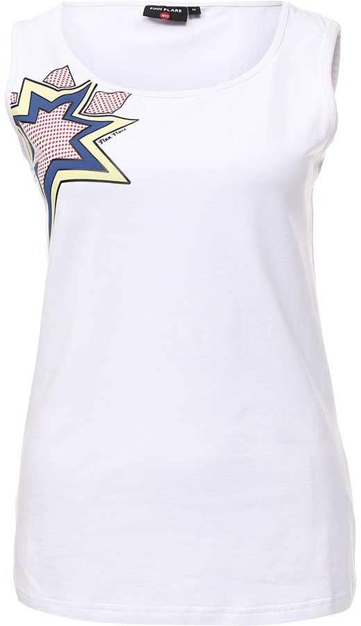 Майка женская Finn Flare, цвет: белый. B17-32040_201. Размер L (48) блузка женская finn flare цвет черный b17 11046 200 размер s 44
