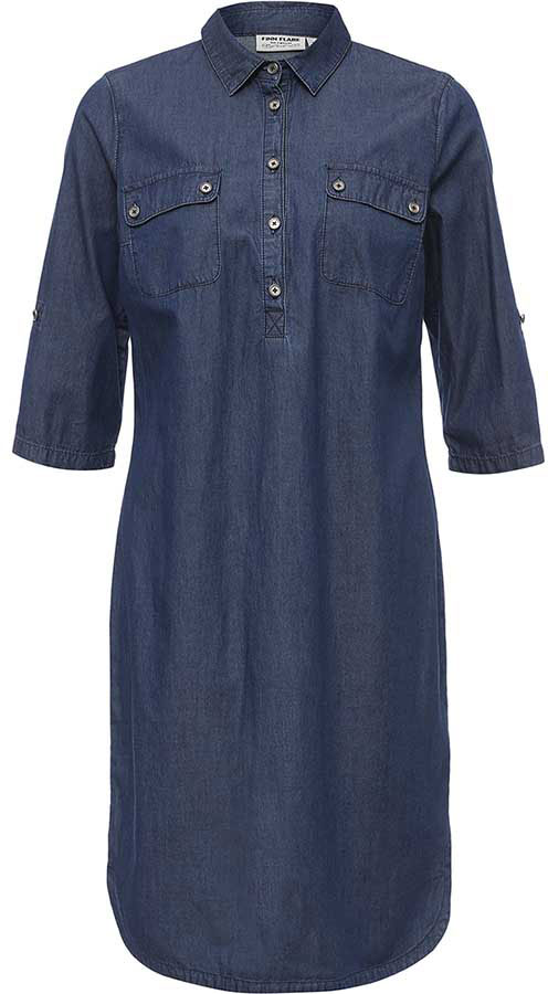 Платье Finn Flare, цвет: синий. B17-15005_125. Размер L (48) платье finn flare цвет серый синий черный w16 11030 101 размер l 48