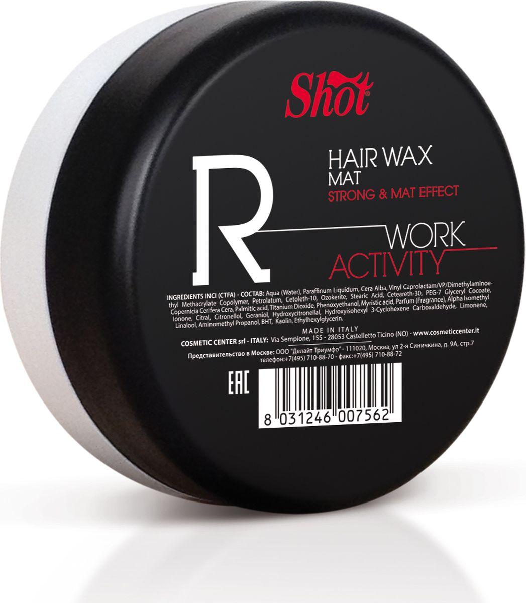 Shot Work Activity Hair Wax Mat - Воск сильной фиксации и матовым эффектом 100 млSHWA111Обладает сильным уровнем фиксации и после нанесения на пряди, наполняет их ультрамодным матовым блеском. Отлично подходит для моделирования коротких стрижек, придания им нестандартных уникальных форм, а также для расстановки структурных акцентов при работе с длинными прядями. В основе средства лежат высококачественные пчелиный и фруктовые воски, что делает Shot Work Activity Matte Wax полностью безопасным для частого. Эти компоненты не только не пересушивают и не вредят волосам, но и значительно улучшают их состояние, помогают прядям сохранять драгоценную влагу при температурном стайлинга, защищают от механических повреждений. Содержит коллаген, кератин и витаминаы. Столь насыщенный коктейль питает и восстанавливает локоны, делает их эластичнее и сильнее день за днем. Результат использования воска Shot Work Activity Matte Wax - это стильная неповторимая укладка, не теряющая аккуратности на протяжении дня, и здоровые красивые волосы!