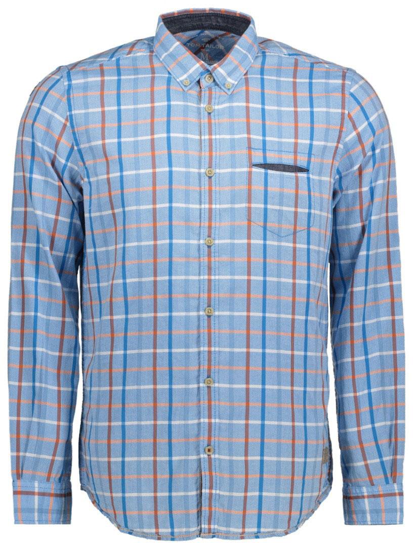 Рубашка мужская Tom Tailor, цвет: голубой, оранжевый, синий. 2033114.00.10_6589. Размер M (48)2033114.00.10_6589Мужская рубашка Tom Tailor поможет создать отличный современный образ. Модель изготовлена из хлопка. Рубашка с отложным воротником и длинными рукавами застегивается по всей длине на пуговицы. На груди предусмотрен прорезной карман. Манжеты рукавов оснащены застежками-пуговицами. Оформлено изделие принтом в полоску.Такая рубашка станет стильным дополнением к вашему гардеробу, она подарит вам комфорт в течение всего дня!