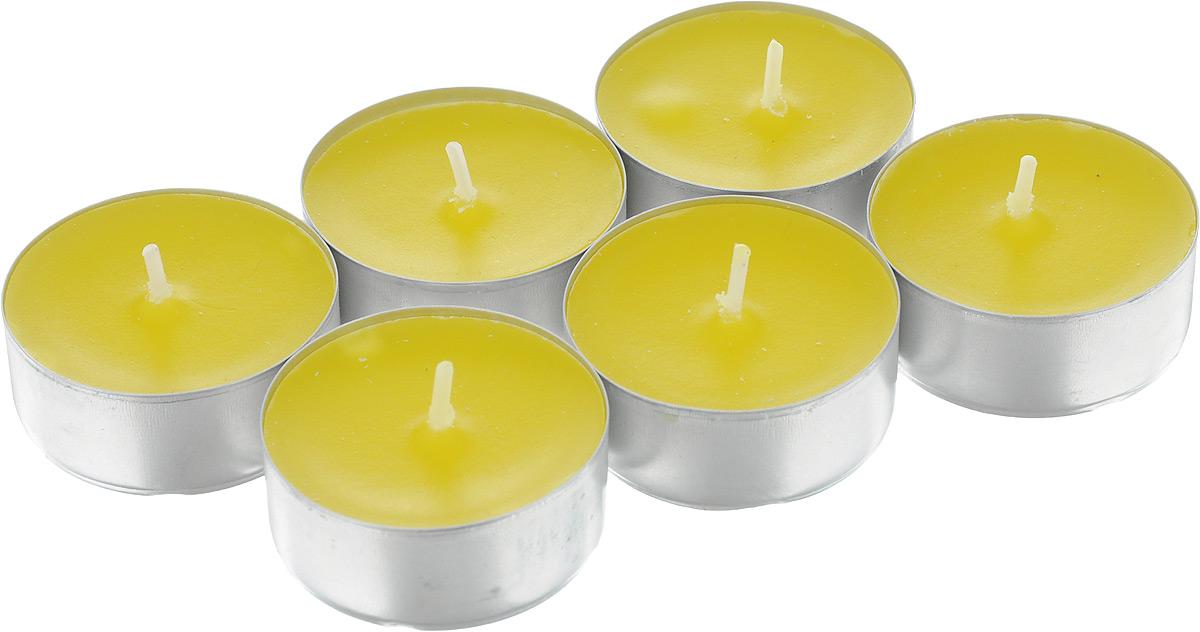 Набор свечей Омский cвечной завод Лимон, ароматизированные, диаметр 3,8 см, 6 шт337442Набор Омский свечной завод Лимон состоит из 6 круглых свечей с ароматом лимона, изготовленных из парафина.Первичный парафин в составе свечей обеспечивает качество горения (выгорает полностью). При горении не трещат, не появляются искры.Такой набор украсит интерьер вашего дома или офиса и наполнит его атмосферу теплом и уютом.Примерное время горения: 3 часа. Диаметр свечи: 3,8 см. Высота: 1,5 см.