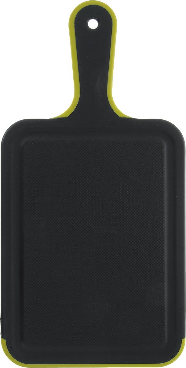 Доска разделочная Kesper, с ручкой, цвет: салатовый, черный, 33,5 х 16,5 х 0,5 см3091-0_салатовый, черныйДоска разделочная Kesper, изготовленная из пищевого пластика, оснащена удобной ручкой с отверстием для подвешивания. По краю изделия предусмотрена канавка, благодаря которой сок от продуктов не попадает при резке на столешницу.Функциональная и простая в использовании разделочная доска Kesper прекрасно впишется в интерьер любой кухни и прослужит вам долгие годы.